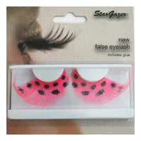 Eyelashes Feather, Pink with Black Spots