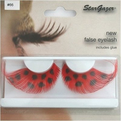 Eyelashes Feathered, Red with Black Spots