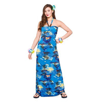 Hawaii Maxi Dress, Blue Palm
