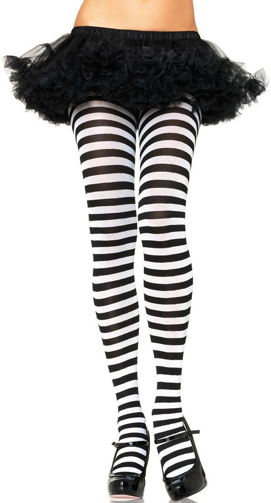 Plus Size Striped Tights, Black and White