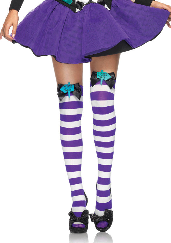 Nylon Thigh Highs, Mad Hatter with Bows
