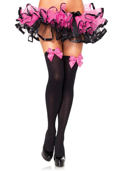 Nylon Thigh Highs, Black with Dark Pink Bow