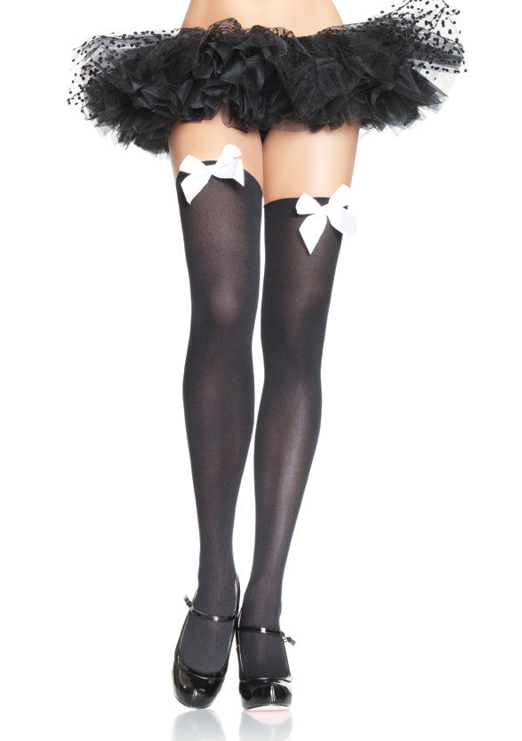 Nylon Thigh Highs, Black with White Bows