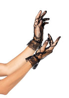 Wrist Length Lace Gloves with Ruffle, Black