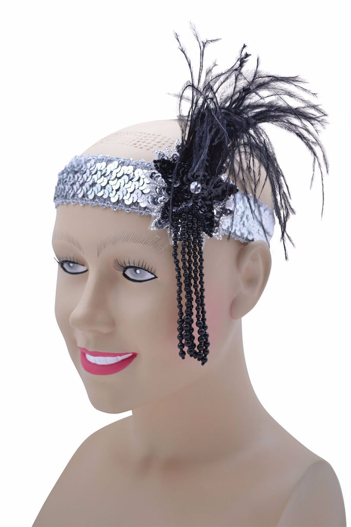 Deluxe Flapper Headband, Silver