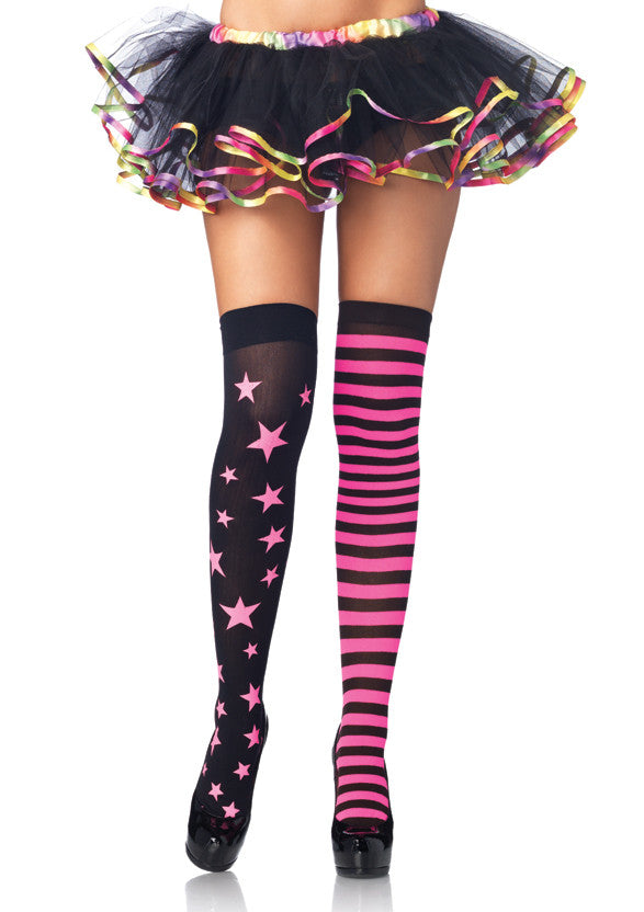 Nylon Thigh Highs, Pink and Black Stars and Stripes