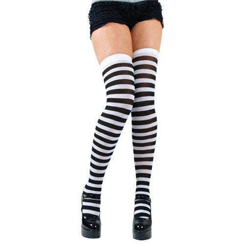 Thigh Highs, Striped, Black-White