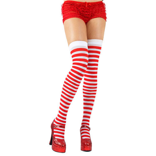 Thigh Highs, Striped, Red-White