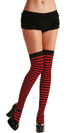Thigh Highs, Striped, Red-Black