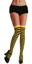 Thigh Highs, Striped, Yellow-Black