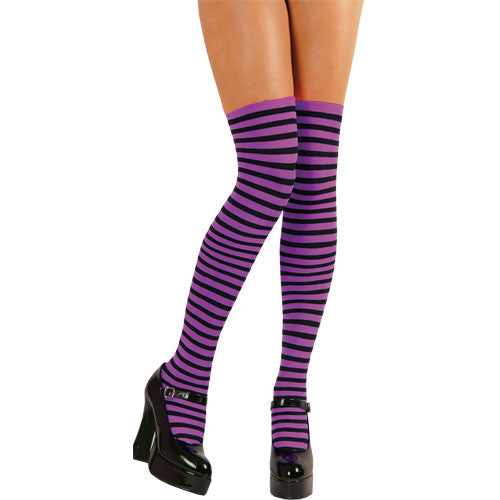 Thigh Highs, Striped, Purple-Black
