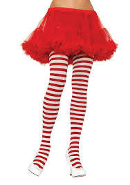 Plus Size Stripe Tights, White And Red