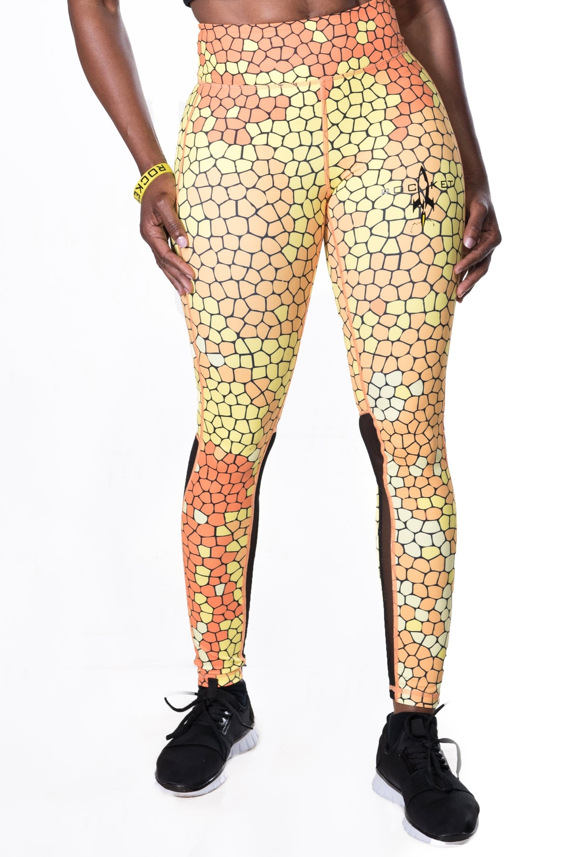 Women's Pro Art Mesh Leggings - Yellow (Plus Sizes Available)