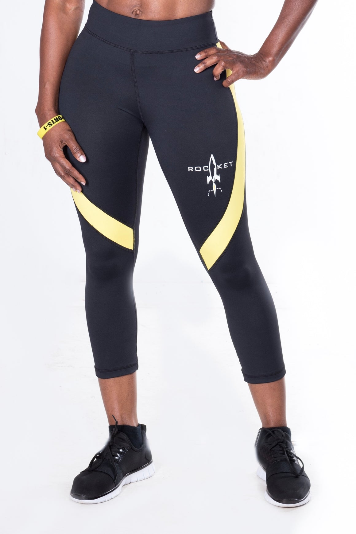 Women's  Action Sport Capri Leggings (White Stripe, Yellow Stripe, and Pink Stripe)