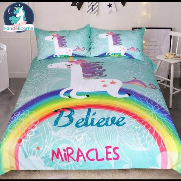 parure de lit licorne arc en ciel housse couette 2 places boutique licorne fandelicorne. Black Bedroom Furniture Sets. Home Design Ideas