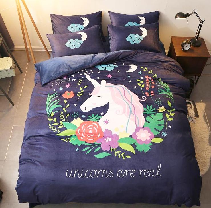 parure licorne pour lit 4 pi ces boutique licorne. Black Bedroom Furniture Sets. Home Design Ideas