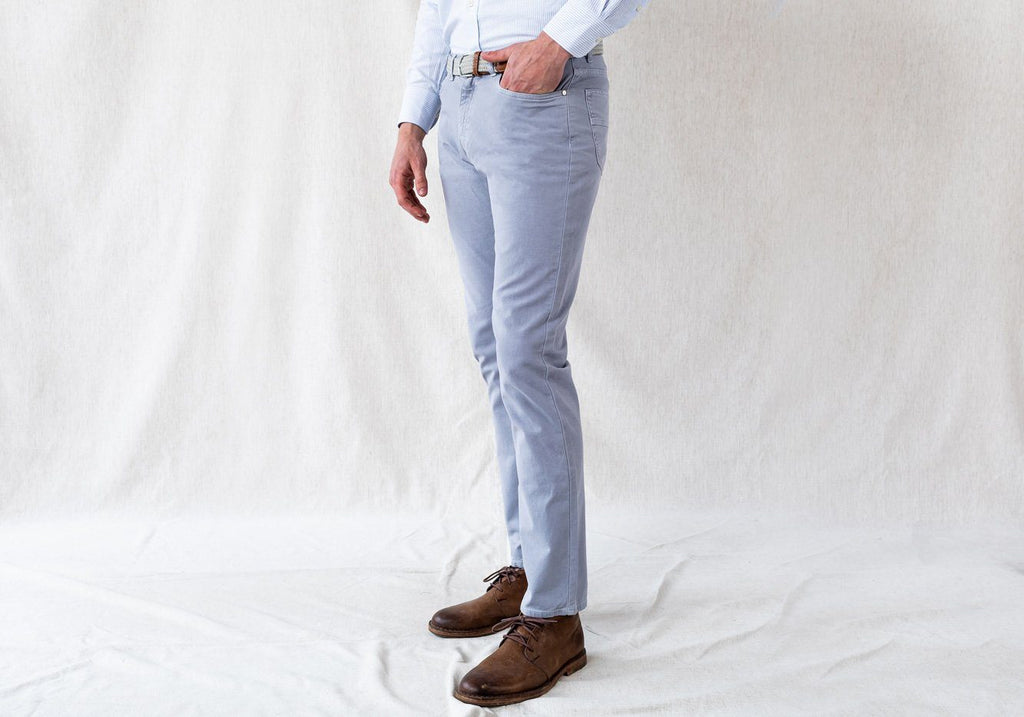 The Dusk Blue Franklin 5 Pocket Washed Twill Pant Pants- Ledbury