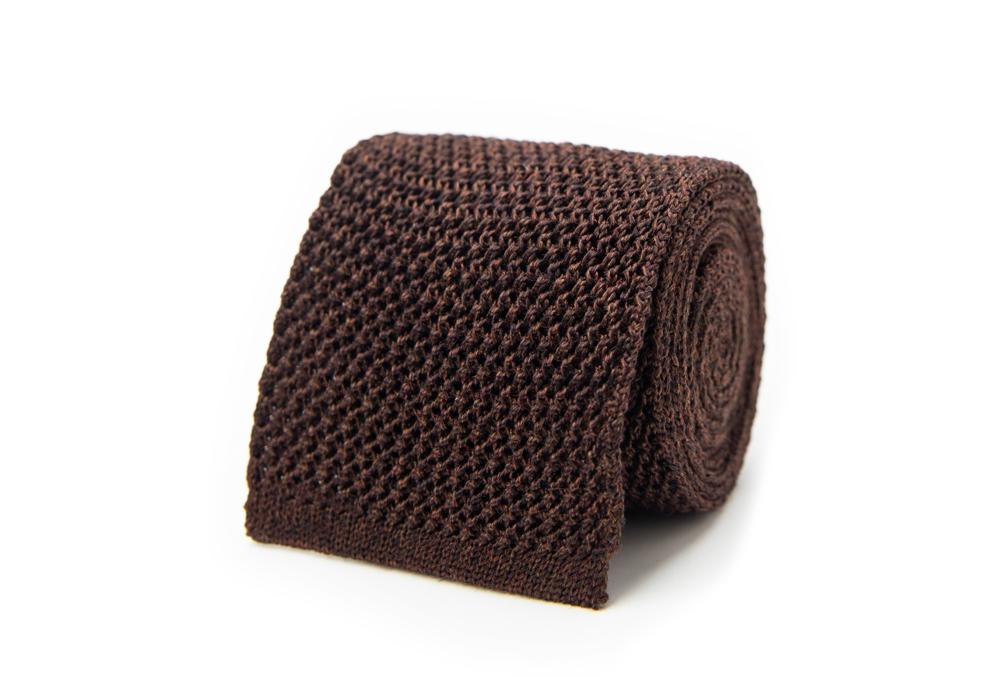 The Brown Harlow Knit Tie Tie- Ledbury
