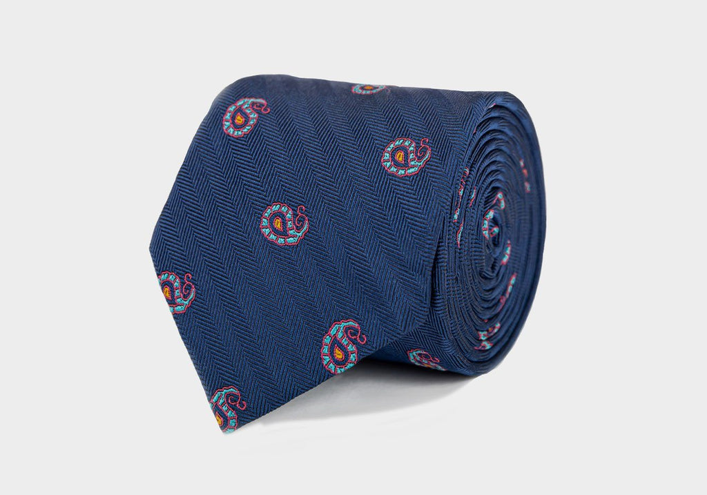 The Navy Quincy Tie Tie- Ledbury