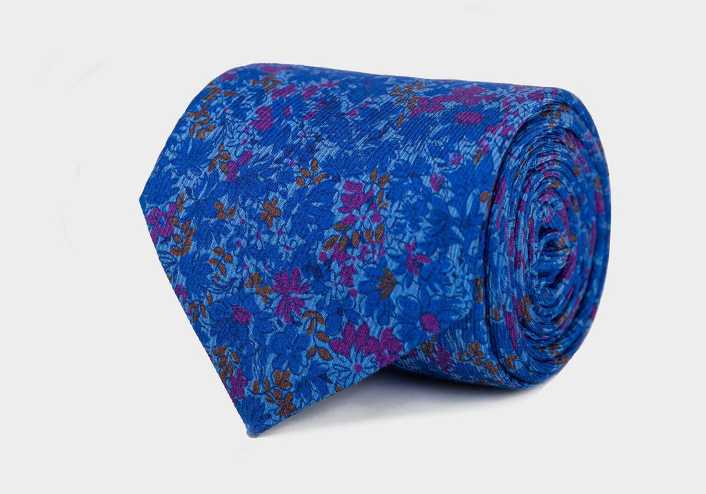 The Blue Torrey Print Tie Tie- Ledbury
