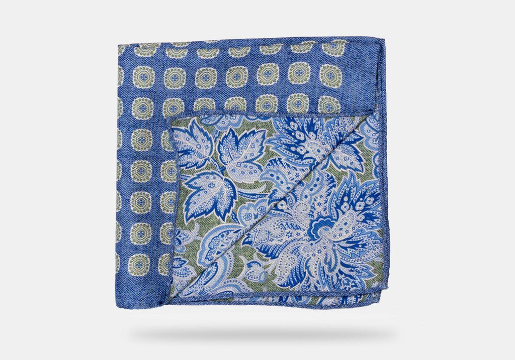 The Blue Burnham Print Pocket Square Pocket Square- Ledbury