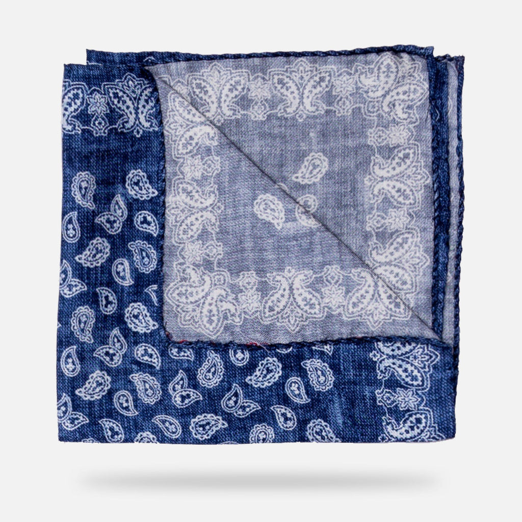 The Blue Buckingham Print Pocket Square Pocket Square- Ledbury