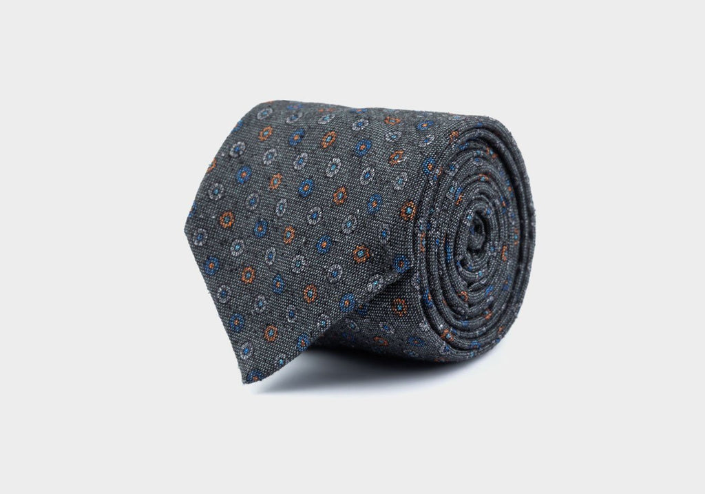 The Charcoal Cowles Print Tie Tie- Ledbury