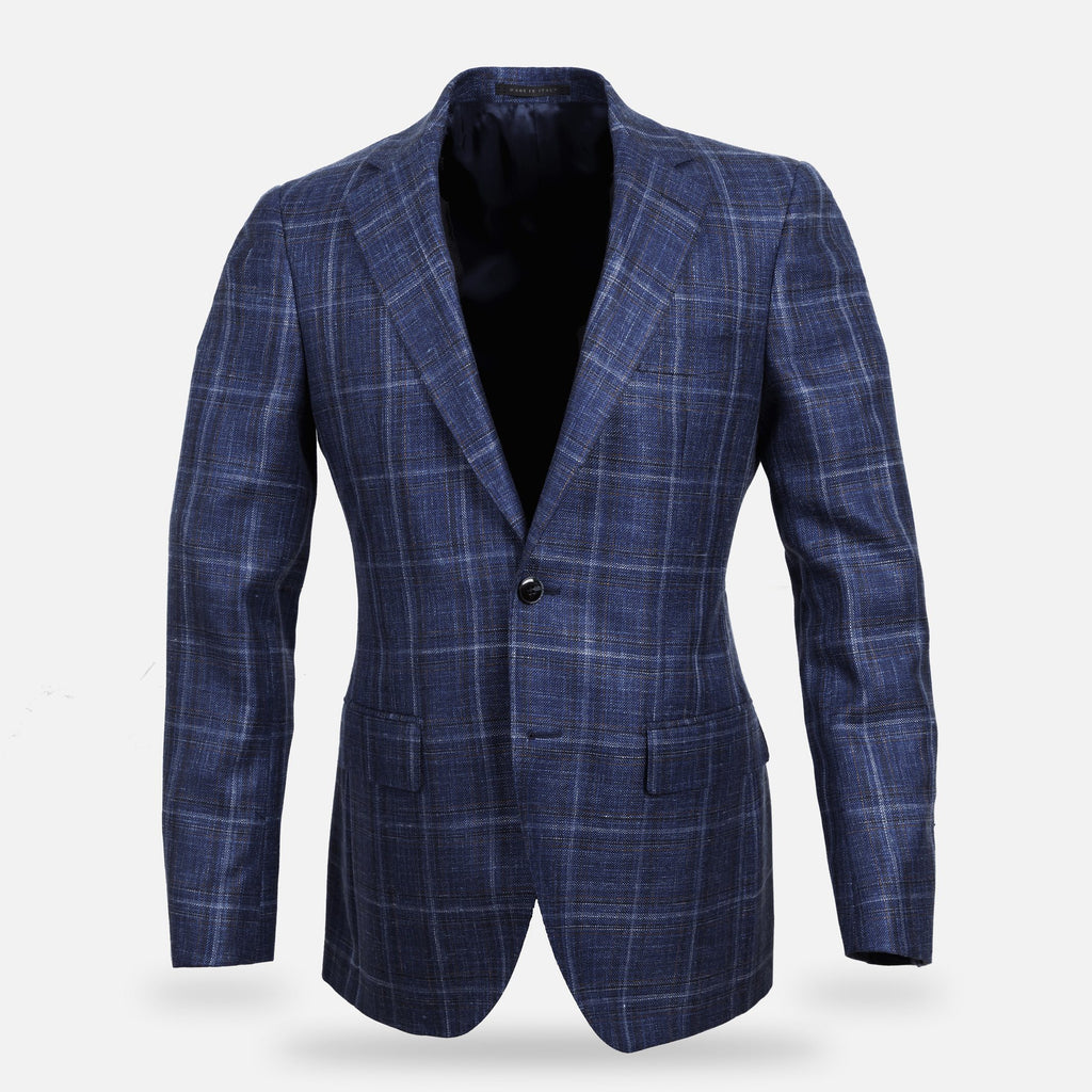 The Dark Blue Bonnett Check Sport Coat Blazer- Ledbury