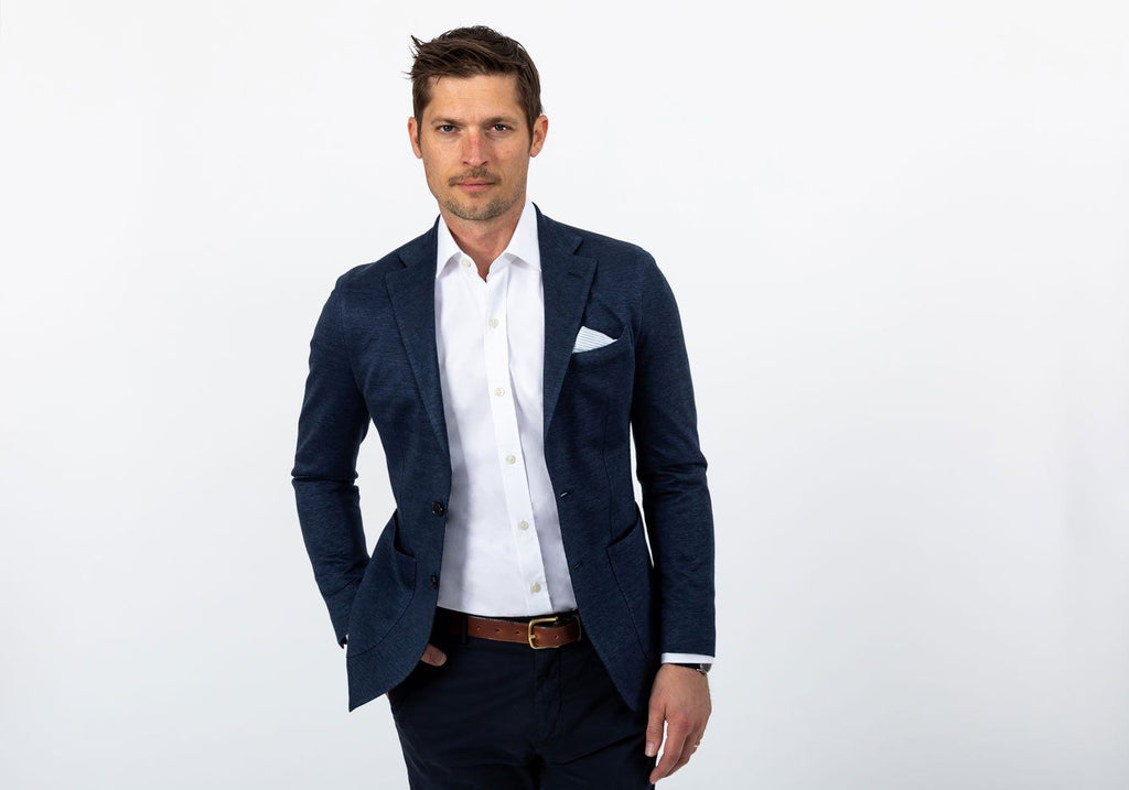 The Navy Admore Knit Sport Coat Blazer- Ledbury