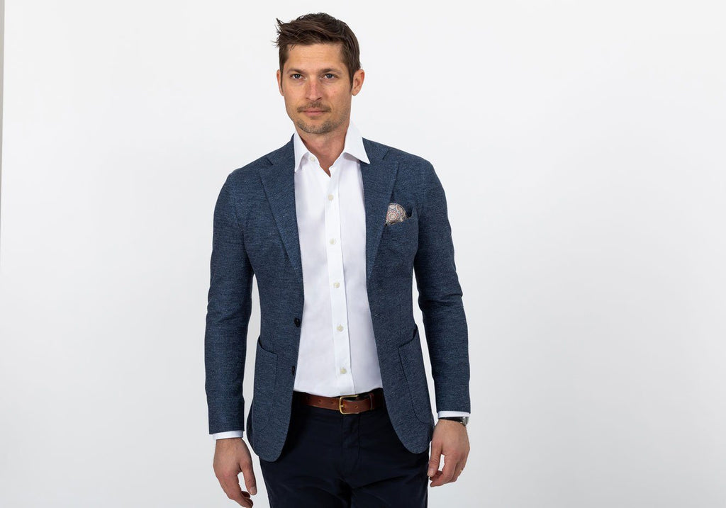 The Slate Blue Heather Broson Pique Knit Sport Coat Blazer- Ledbury