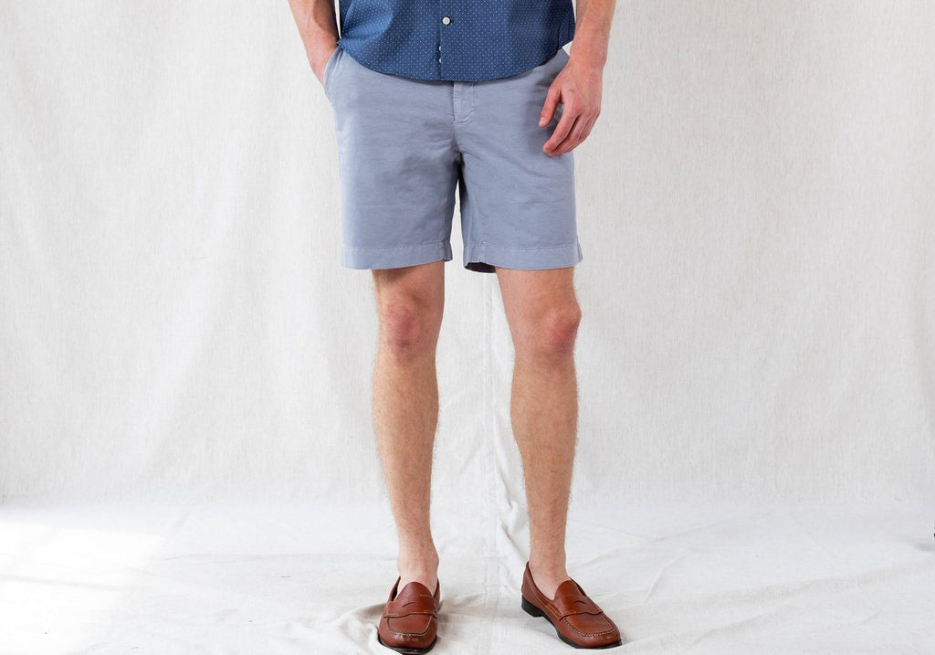 The Dusk Blue Richmond Washed Twill Short Shorts- Ledbury
