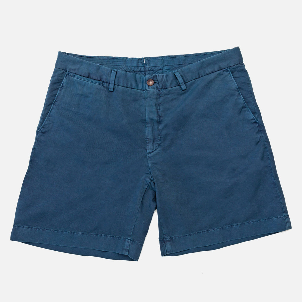 The Airforce Blue Richmond Washed Twill Short Shorts- Ledbury