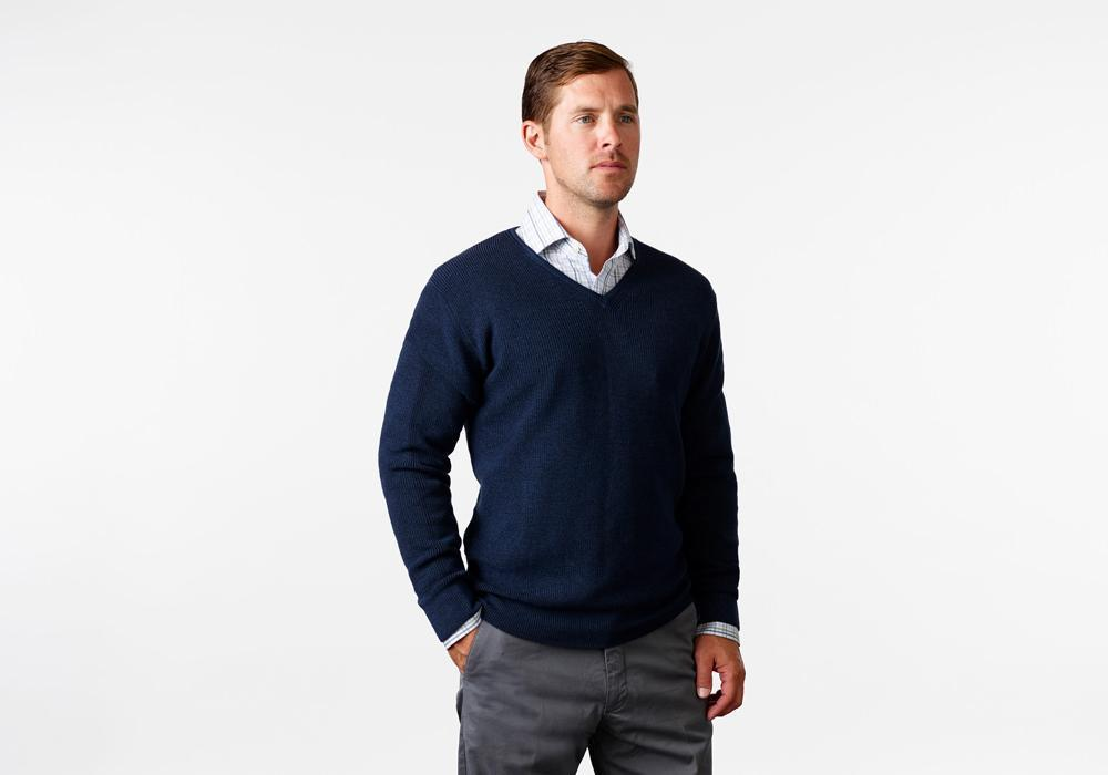 The Navy Mansfield V-Neck Sweater