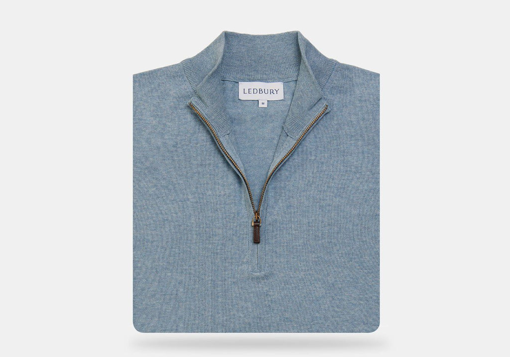 The Slate Blue Heather Easterley Half-Zip Sweater Sweater- Ledbury