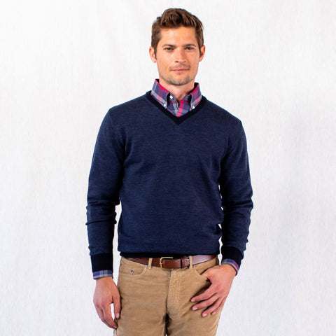 The Navy Emmons Stripe V-Neck Sweater | Ledbury Men's Sweaters