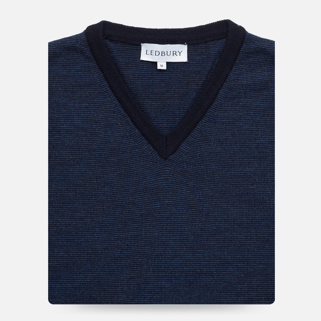 The Navy Emmons Stripe V-Neck Sweater Sweater- Ledbury