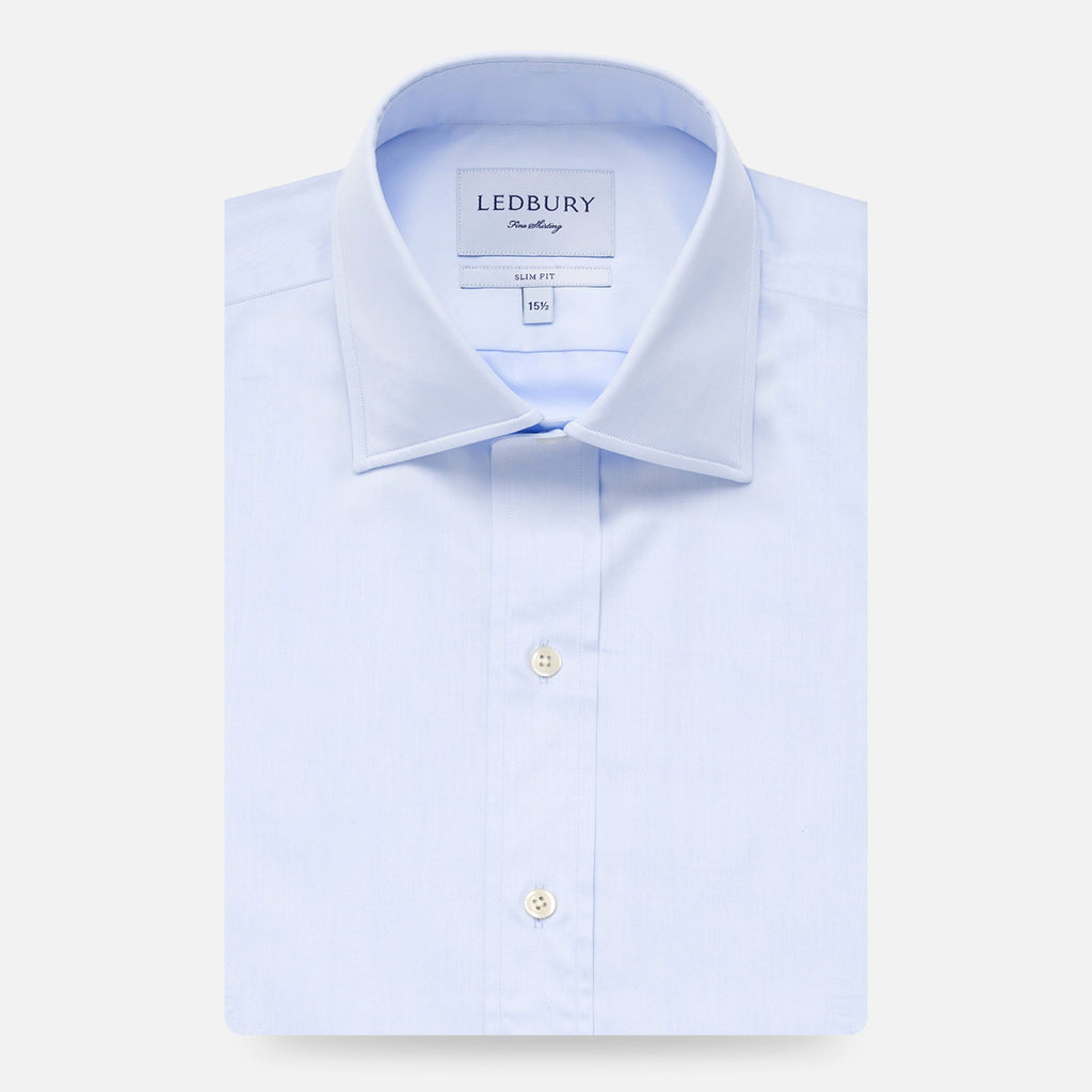 The Blue Fine Twill Mid-Spread Dress Shirt Dress Shirt- Ledbury