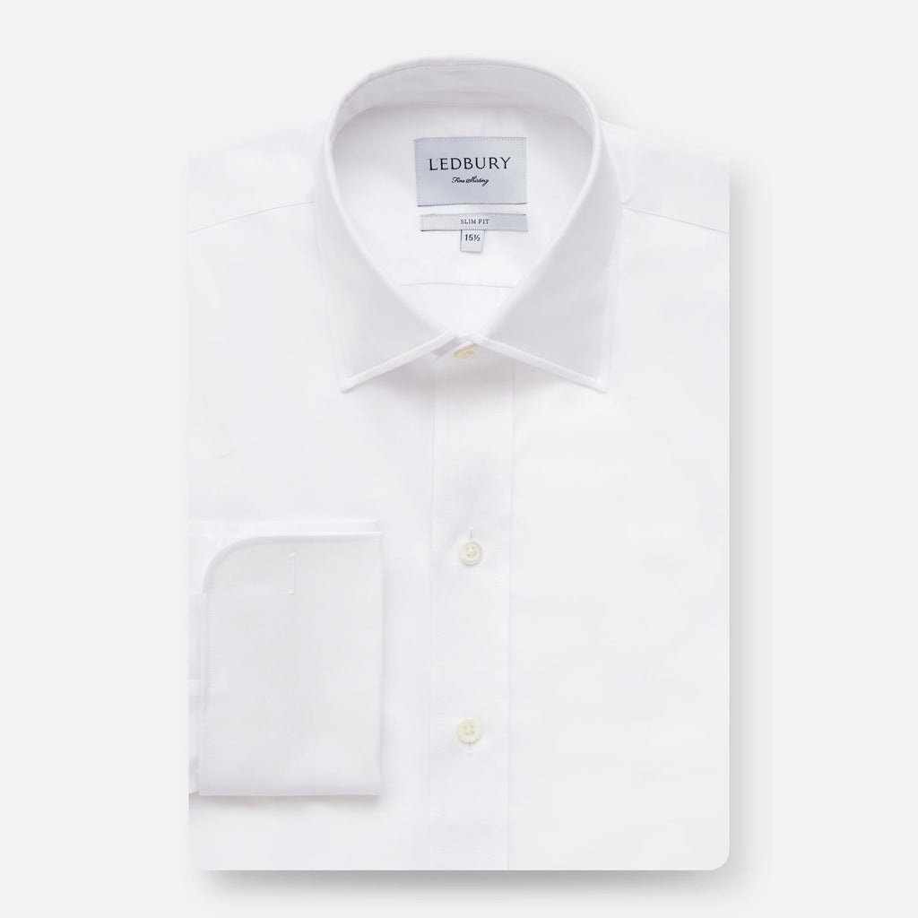 White Fine Twill French Cuff Dress Shirt Dress Shirt- Ledbury