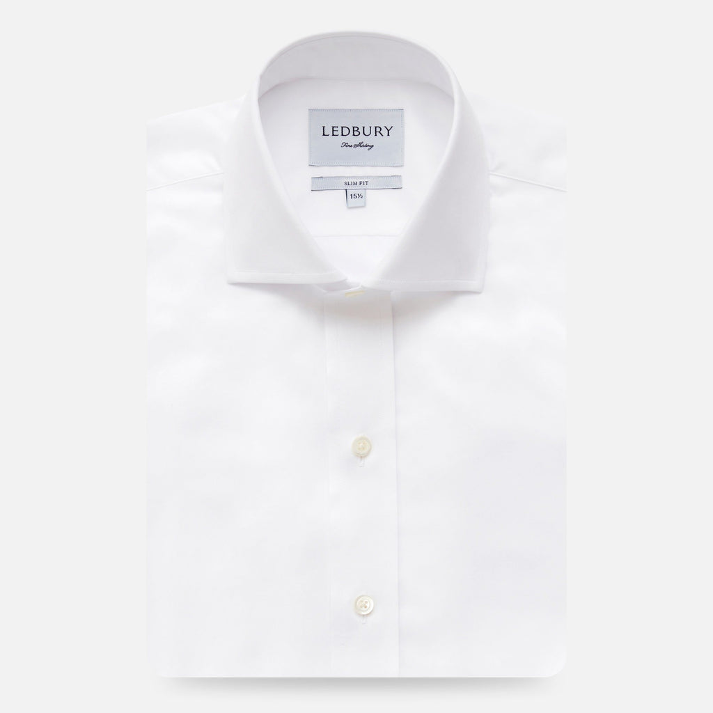 The White Fine Twill Spread Dress Shirt Dress Shirt- Ledbury