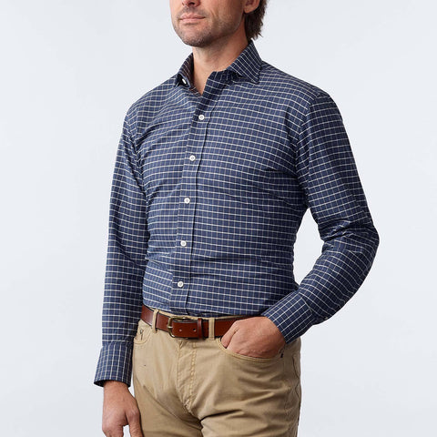 The Cadet Blue Wildwood Windowpane Casual Shirt