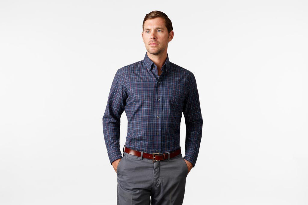 The Navy Palmyra Check Casual Shirt Casual Shirt- Ledbury