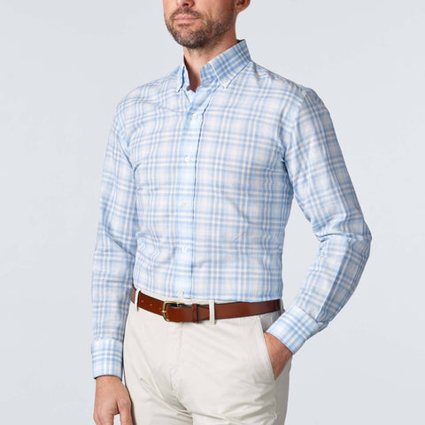 Ledbury | The Light Blue Emrick Plaid Casual Shirt