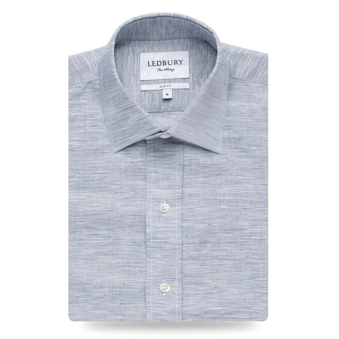 The Dark Blue Edmunton Linen Cotton Dress Shirt