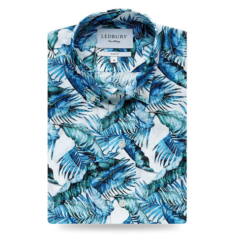 The Blue Greencrest Palm Print Casual Shirt