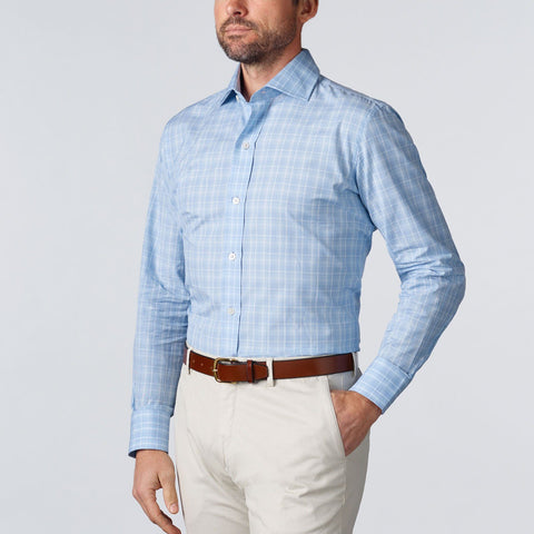 Ledbury | The Blue Ginby Plaid Dress Shirt | Men's Business Casual Shirt