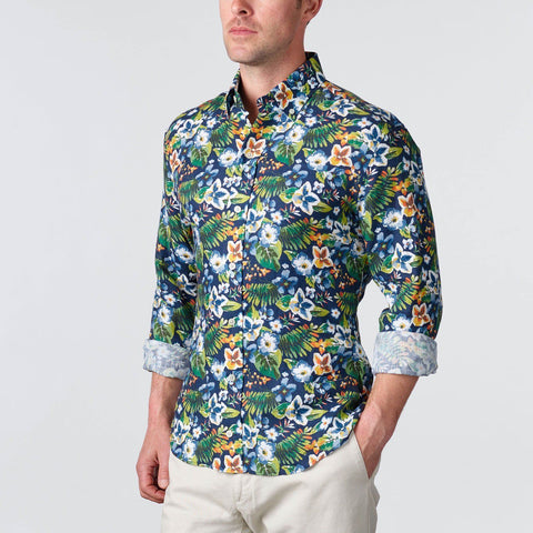 Ledbury | The Navy Elden Print Casual Shirt | Men's Casual Shirt