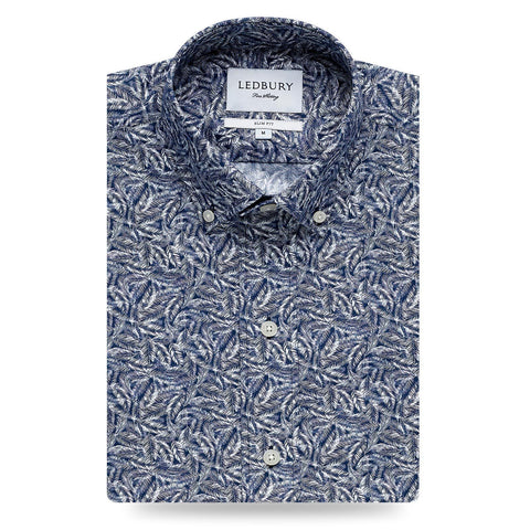 Ledbury | The Blue Garnaby Palm Print Dress Shirt