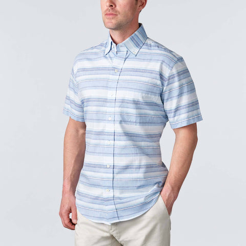 Ledbury | The Blue Short Sleeve Amberfield Stripe Casual Shirt