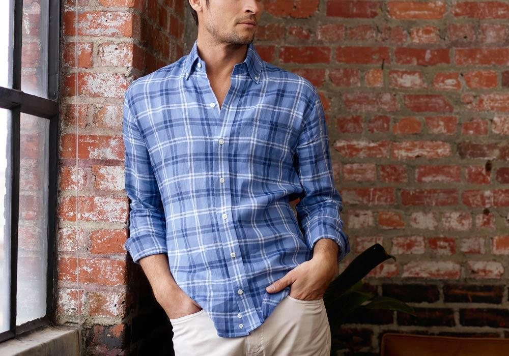 Ledbury | The Blue Wilbanks Plaid Casual Shirt
