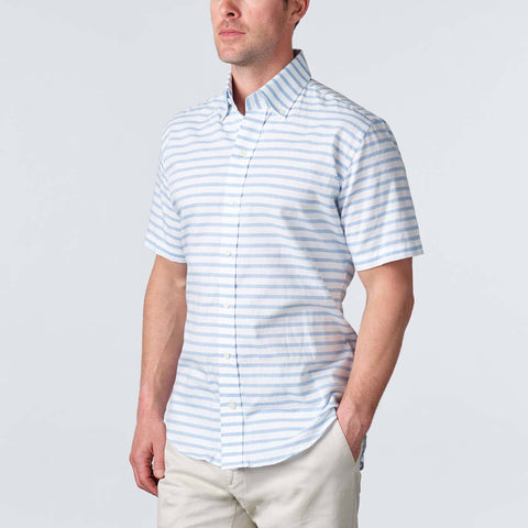 Ledbury | The Blue Short Sleeve Gunnin Stripe Casual Shirt
